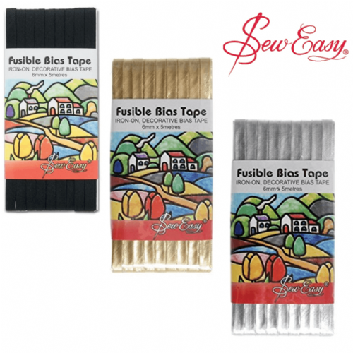 Fusible Bias Tape: Black / Gold / Silver